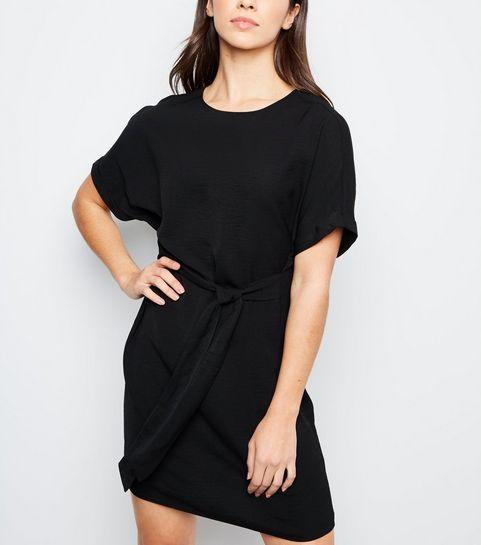 54c947551d8 ... Black Herringbone Tie Waist Tunic Dress ...