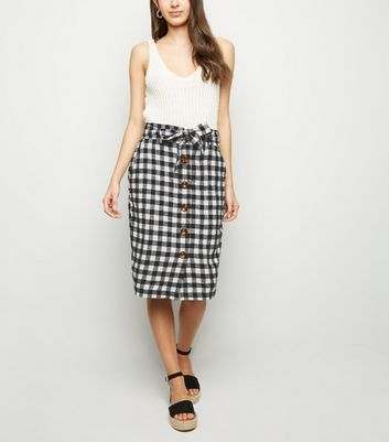 Black Gingham Linen Blend Midi Skirt