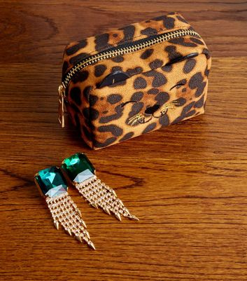Brown Leopard Print Cat Mini Make-Up Bag