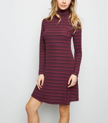 Burgundy Stripe Ribbed Roll Neck Skater Dress