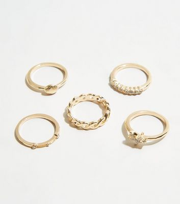 Gold Shell and Starfish Stacking Rings