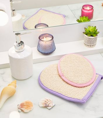 Lilac and Pink Exfoliating Mitt Set