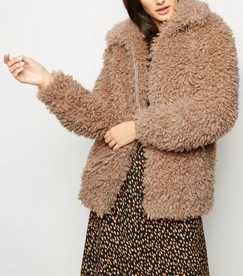 Camel Curly Faux Fur Bomber Jacket
