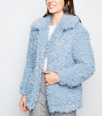Pale Blue Curly Faux Fur Bomber Jacket
