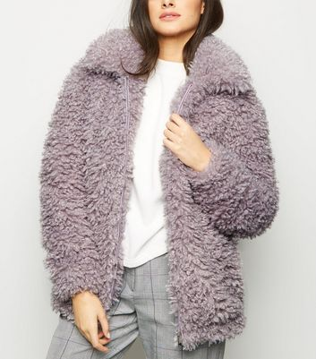 Lilac Curly Faux Fur Bomber Jacket