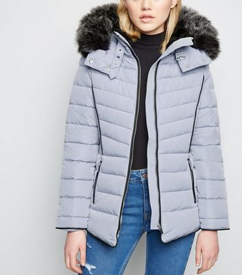 Pale Blue Faux Fur Hood Padded Puffer Jacket