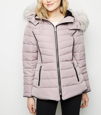 Lilac Faux Fur Hood Padded Puffer Jacket