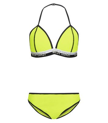 "Girls – Neongelber Bikini mit ""West Coast""-Slogan"