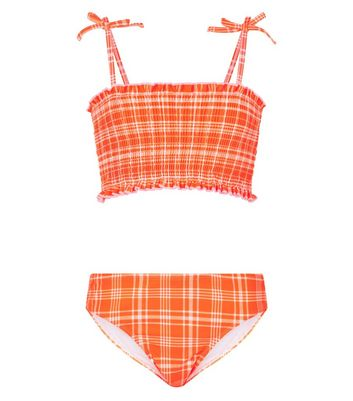 Girls – Gesmoktes Bikiniset in Orange mit Karo-Print