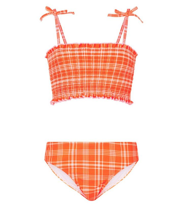 77c9e066b70f4 Girls Orange Check Shirred Bikini Set | New Look