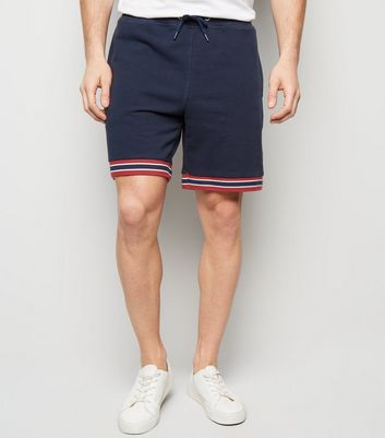Navy Drawstring Stripe Hem Shorts