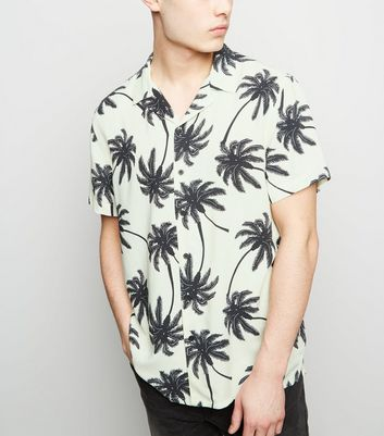 Black Palm Print Revere Collar Shirt