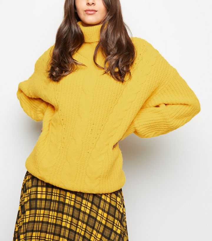 cf7788bf370 Yellow Roll Neck Cable Knit Jumper | New Look