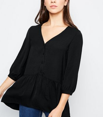 Black Button Front Longline Peplum Blouse