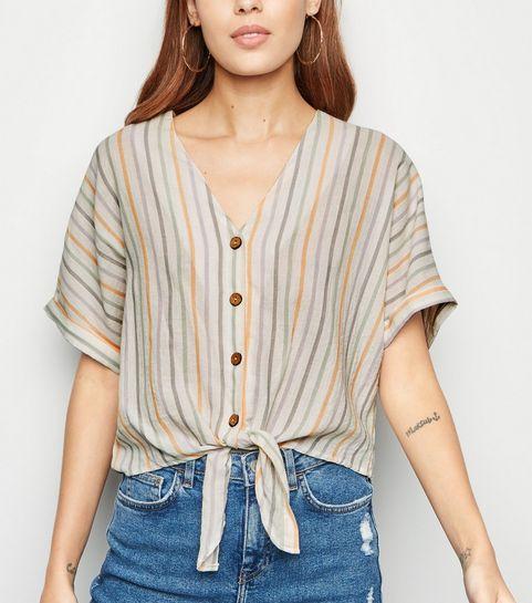 1be1638efd6 ... White Multi Stripe Short Sleeve Shirt ...