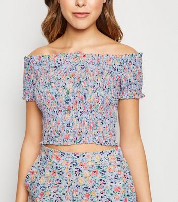Purple Ditsy Floral Shirred Bardot Top