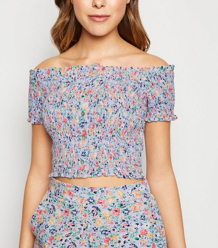 ace789f45b649e Purple Ditsy Floral Shirred Bardot Top | New Look
