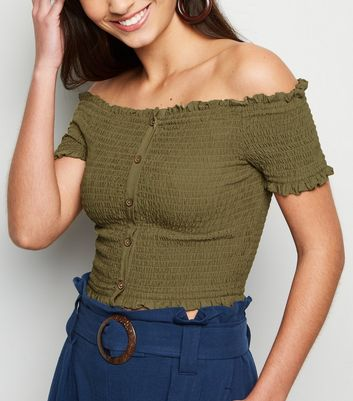 Khaki Shirred Button Front Bardot Top