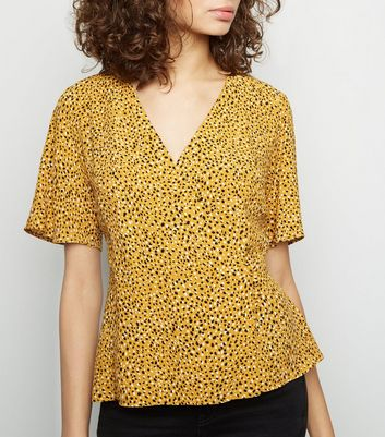 Yellow Spot Print Button Side Wrap Top