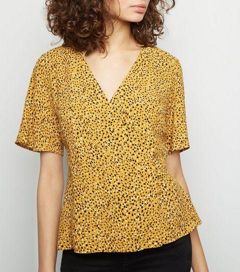 a23645152e ... Yellow Spot Print Button Side Wrap Top ...