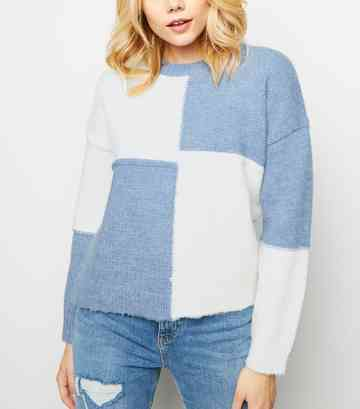 Pale Blue and White Patchwork Knit Jumper