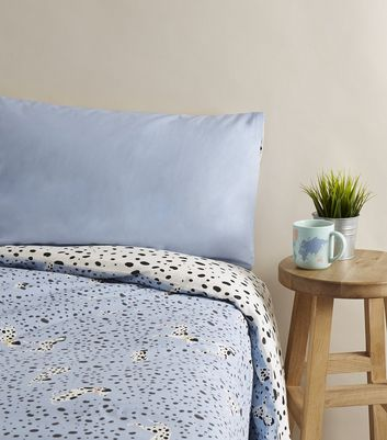 Blue Dalmatian Print Double Duvet Set