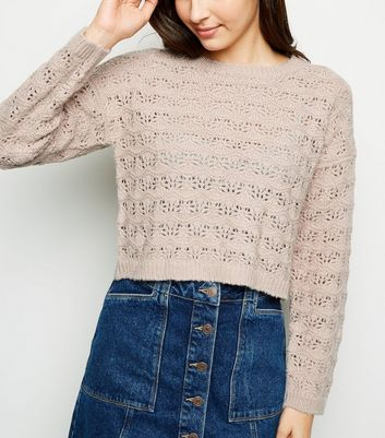 Pale Pink Pointelle Cropped Jumper
