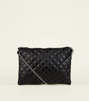 Black Quilted and Faux Snake Cross Body Bag