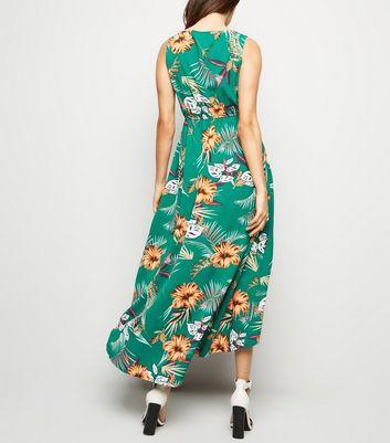 shop for Blue Vanilla Green Tropical Dip Hem Dress New Look at Shopo