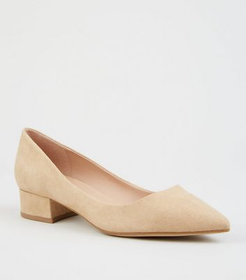 Light Brown Suedette Pointed Court Shoes