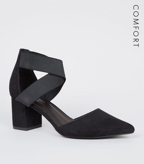 a357e8e6624f ... Black Comfort Flex Elastic Strap Courts ...