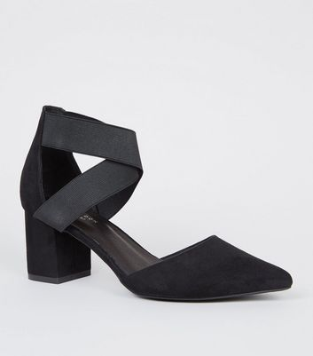 Black Comfort Flex Elastic Strap Courts by New Look