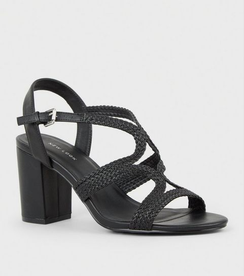 f60c5a9f113e ... Black Leather-Look Woven Strappy Heeled Sandals ...