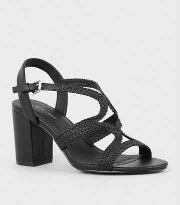 Black Leather-Look Woven Strappy Heeled Sandals