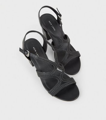 60d4eb1e8b45ce Black Leather-Look Woven Strappy Heeled Sandals New Look