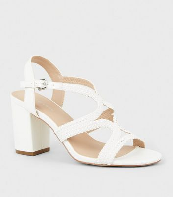 White Leather-Look Woven Strappy Heeled Sandals