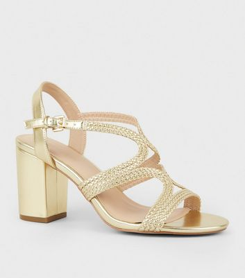 Gold Metallic Woven Strappy Heeled Sandals