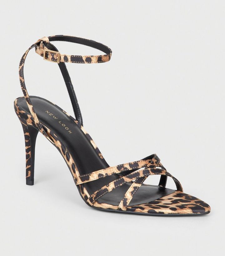 ca492386f86 Stone Leopard Print Satin Strappy Stiletto Heels Add to Saved Items Remove  from Saved Items