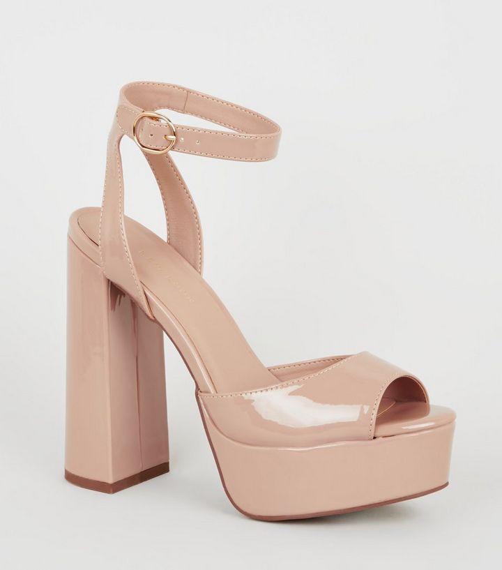Nude Patent Peep Toe Platform Heels