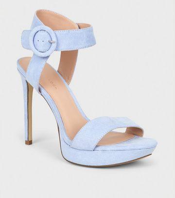 Lilac Suedette Platform Stiletto Sandals