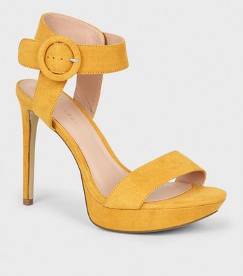 Yellow Suedette Platform Stiletto Sandals