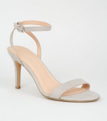 shop for Grey Suedette Ankle Strap Stiletto Heels New Look Vegan at Shopo