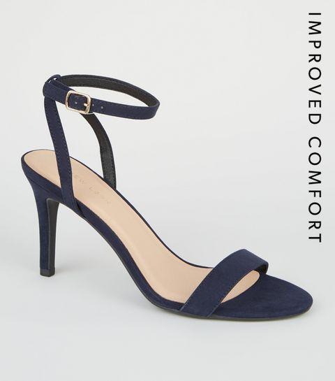 d954c92e4a1 ... Navy Suedette Ankle Strap Stiletto Heels ...