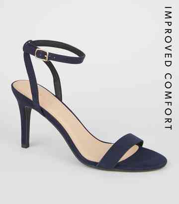 Marineblaue High Heels in Wildleder-Optik mit Stiletto-Absatz und Riemchen