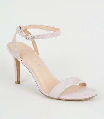 Lilac Suedette Ankle Strap Stiletto Heels