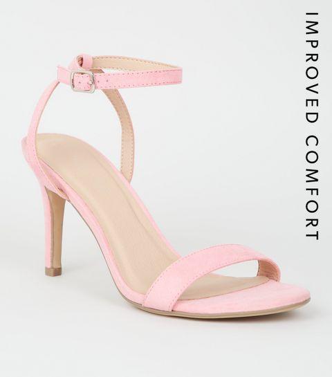 2b4e40736774 ... Pale Pink Suedette Ankle Strap Stiletto Heels ...