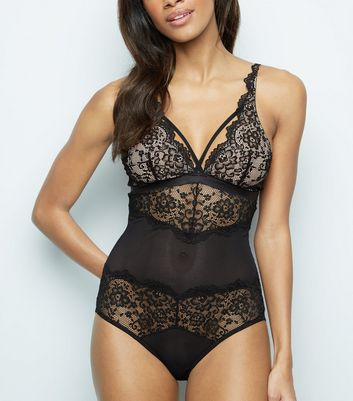 Black Scallop Lace Bodysuit