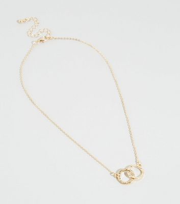 Gold Beaten Double Circle Pendant Necklace by New Look