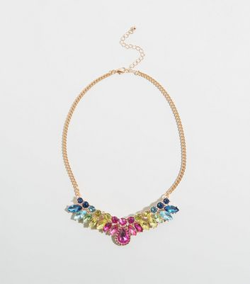 Rainbow Gem Embellished Bib Necklace