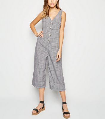 Black Check Button Front Jumpsuit